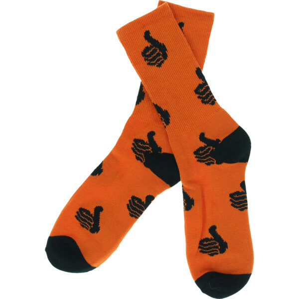 Bro Style Skateboards Spooky Thumbs Orange with Black Crew Socks - One size fits most