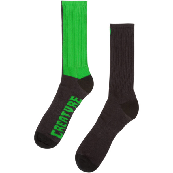 Creature Skateboards Fifty Fifty Black / Green Crew Socks - One size fits most