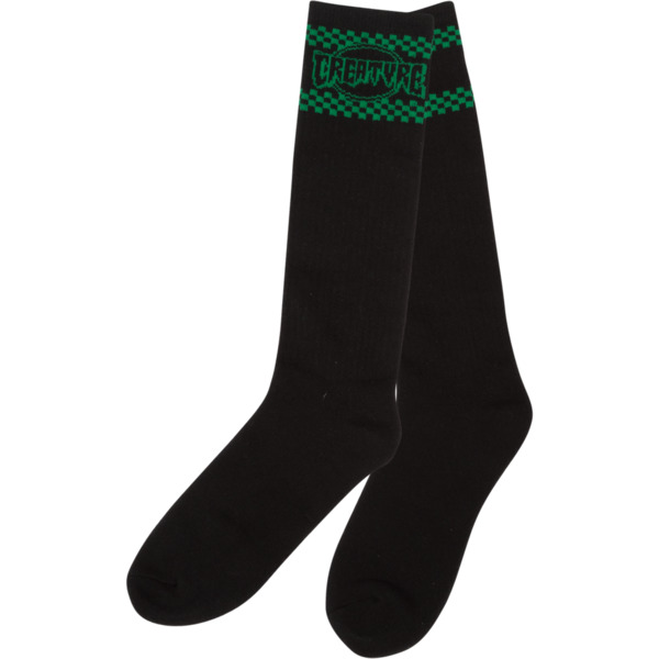Creature Skateboards Vert ll Black / Green Knee High Socks - One size fits most