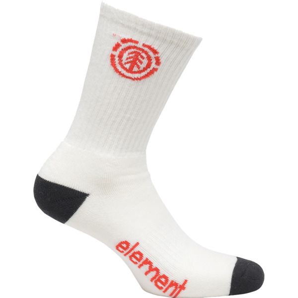 Element Skateboards Primo White Crew Socks - One size fits most