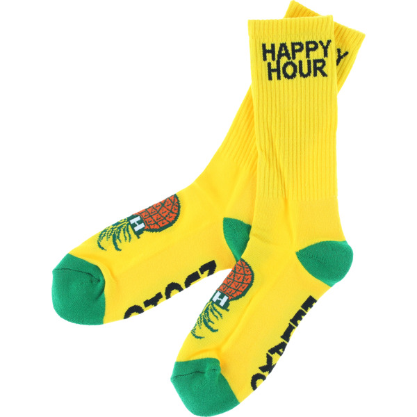 Happy Hour Skateboards Mucho Relaxo Yellow Crew Socks - One size fits most
