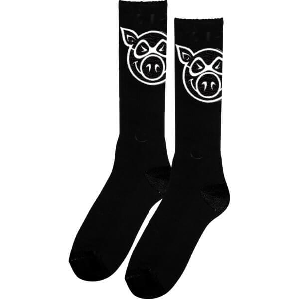 Pig Wheels Head Black Knee High Socks - One size fits most