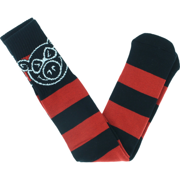 Pig Wheels Head Stripe Black / Red Knee High Socks - One size fits most