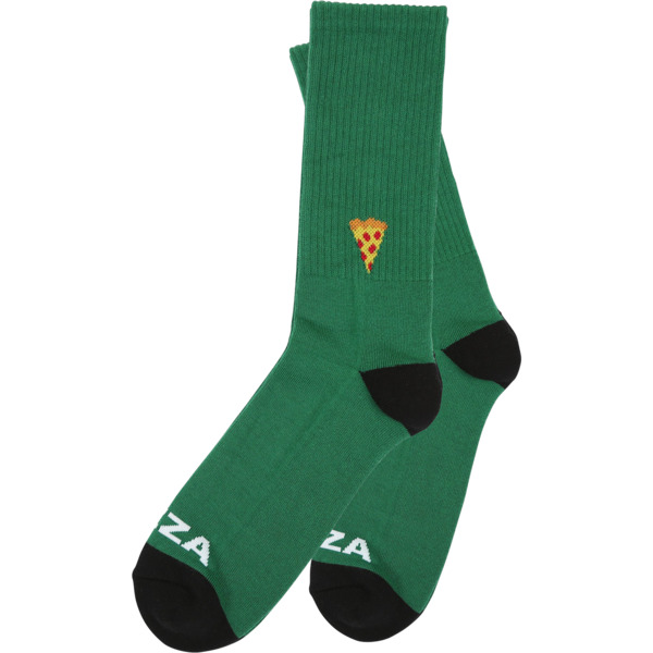 Pizza Skateboards Emoji Green / Black Crew Socks - One size fits most