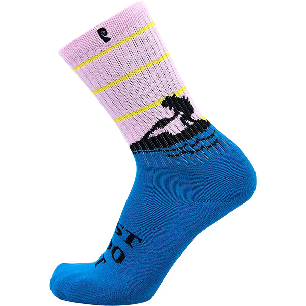 Psockadelic Doo It Neon Blue / Pink Crew Socks - One size fits most