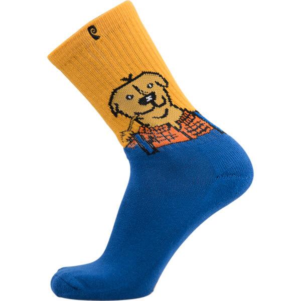 Psockadelic Jon Dickson Farm Dog Orange / Blue Crew Socks - One size fits most