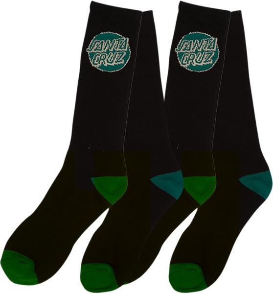 Santa Cruz Skateboards Logo Socks Black / Hunter Green Crew Socks - 2 Pair Bundle - One size fits most