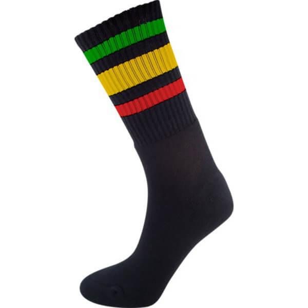 Socco Socks Black Classical Retro Triple Stripes Unisex Crew Tube Socks