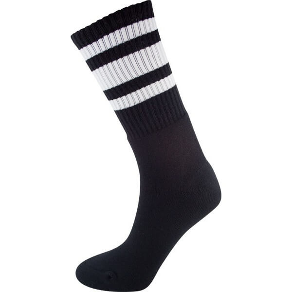 Socco Socks Black Classical Retro Triple Stripes Unisex Crew Tube Socks