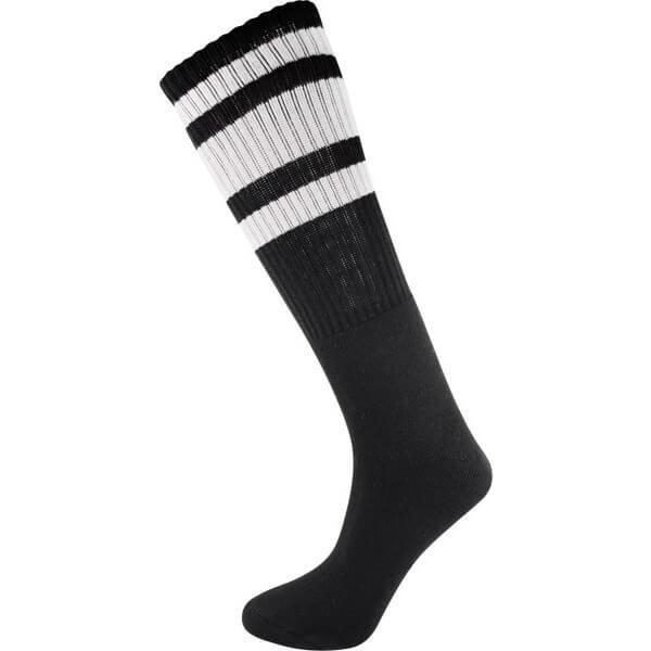 Socco Socks Black Classical Retro White Triple Stripes Unisex Knee High Tube Socks - Small / Medium