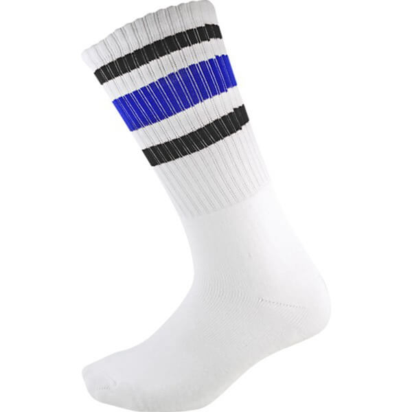 Socco Socks White Classical Retro Black / Blue Triple Stripes Unisex Crew Tube Socks - Large / X-Large