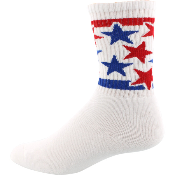 Socco Socks White Star Spangled Stars Unisex Crew Tube Socks - Large / X-Large