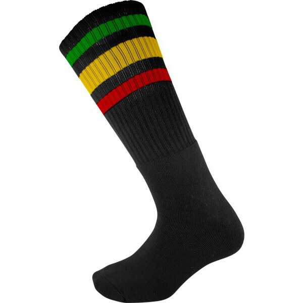 Socco Socks Black Classical Retro Rasta Triple Stripes Unisex Knee High Tube Socks - Large / X-Large