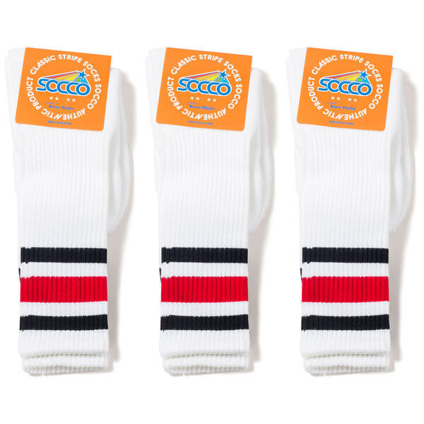 b7c256ea1 Socco Socks Unisex White Triple Striped Black   Red Knee High Tube Socks  Bundle of 3 Pairs - Small   Medium (6-9) - Warehouse Skateboards