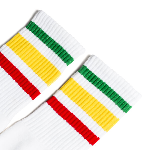 1f5bc83af Socco Socks Unisex White Triple Striped Rasta Green   Yellow   Red Knee  High Tube Socks - Small   Medium (6-9) - Warehouse Skateboards