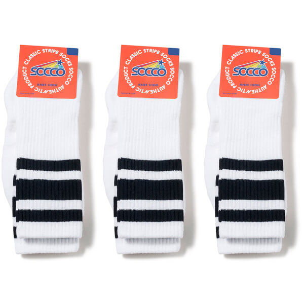 9ae66d12e27 Socco Socks Unisex White Triple Striped Black Knee High Tube Socks Bundle  of 3 Pairs - Large   X-Large (10-13) - Warehouse Skateboards