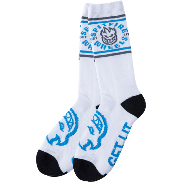 Spitfire Wheels Youth 5Classic Bighead White / Blue / Grey Crew Socks - One size fits most