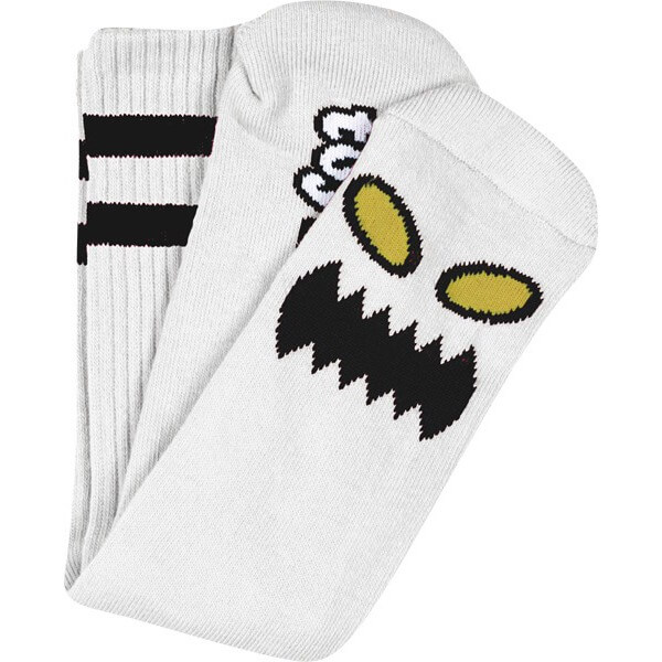 Toy Machine Skateboards Monster Face White Crew Socks - One size fits most