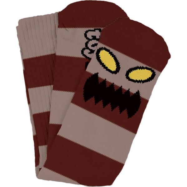 Toy Machine Skateboards Monster Big Stripe Burgundy Crew Socks - One size fits most