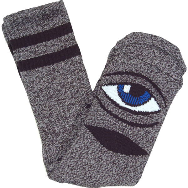 Toy Machine Skateboards Sect Eye Heather Grey Crew Socks - One size fits most