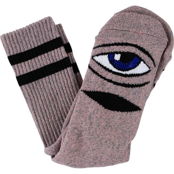 Toy Machine Skateboards Sect Eye Heather Pink Crew Socks - One size fits most