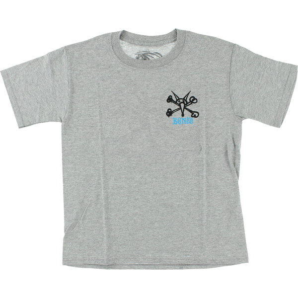 Powell Peralta Rat Bones Grey Boys Youth Short Sleeve T-Shirt - Youth Small