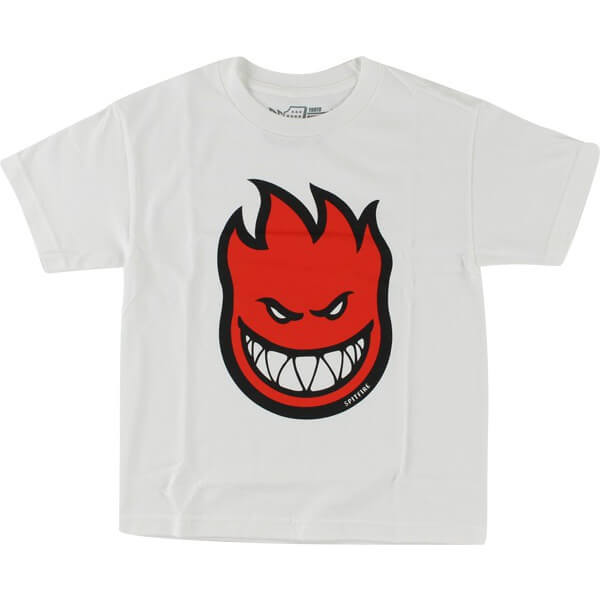Spitfire Wheels Bighead Fill White / Red Boys Youth Short Sleeve T-Shirt - Youth Medium
