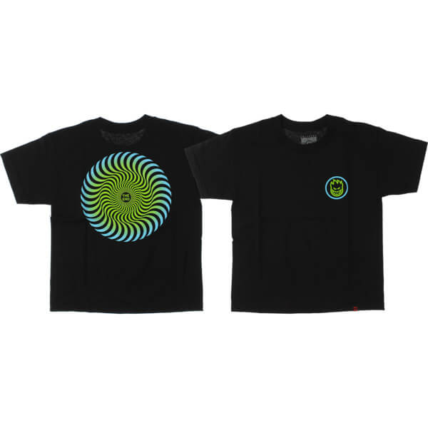 Spitfire Wheels Classic Swirl Fade Black / Green Boys Youth Short Sleeve T-Shirt - Youth Medium