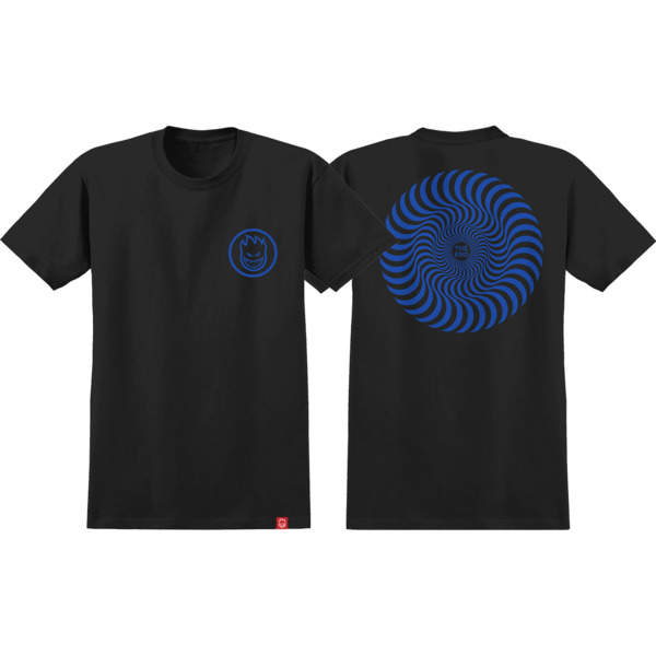 Spitfire Wheels Classic Swirl Black / Navy Boys Youth Short Sleeve T-Shirt - Youth Large