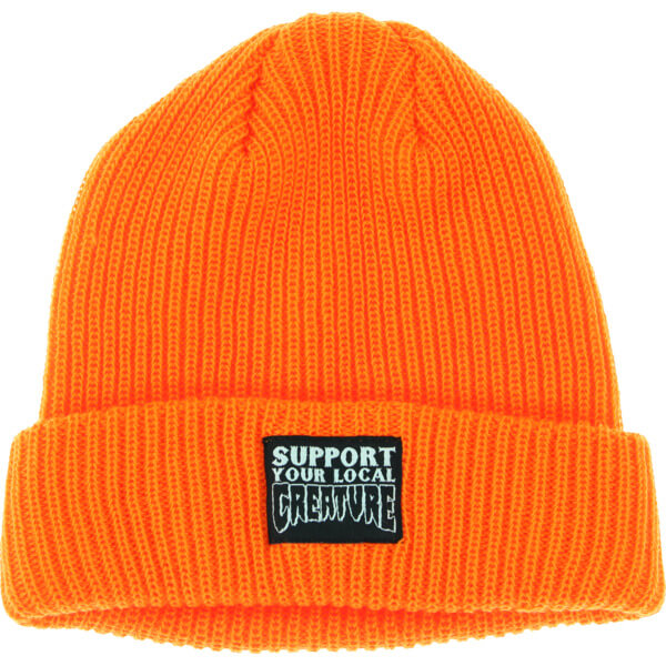Creature Skateboards Support Patch Safety Orange Beanie Hat - One size fits most
