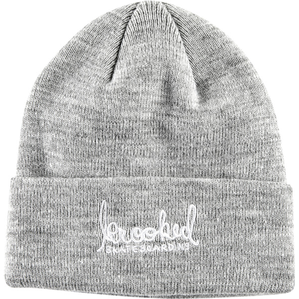 fbadd8f46db0bd Krooked Skateboards Signature Emblem Grey / White Beanie Hat - One size  fits most - Warehouse Skateboards