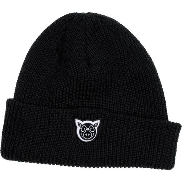 43cc446c197 Pig Wheels Wharf Black Beanie Hat - One size fits most - Warehouse  Skateboards