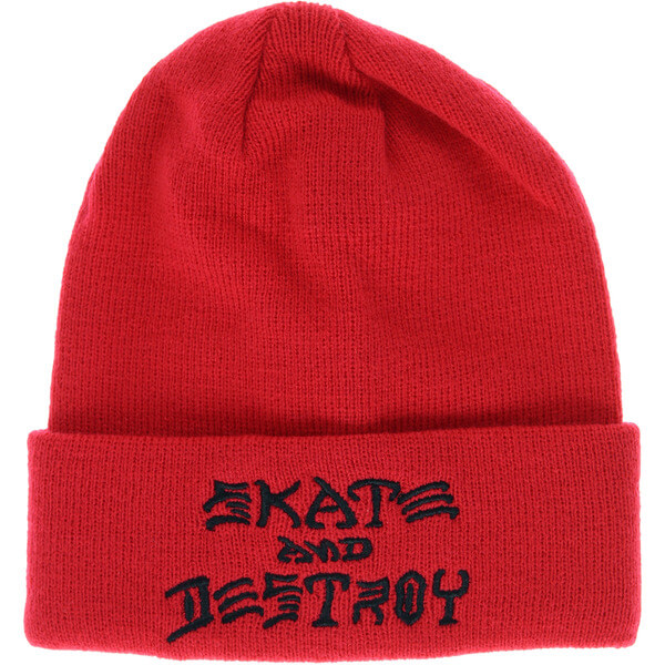 6395fbbee04 Thrasher Magazine Skate and Destroy Embroidered Red Beanie Hat - Warehouse  Skateboards