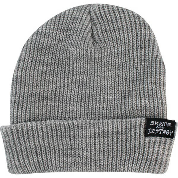 Thrasher Magazine Skategoat / Skate and Destroy Grey Beanie Hat - One size fits most
