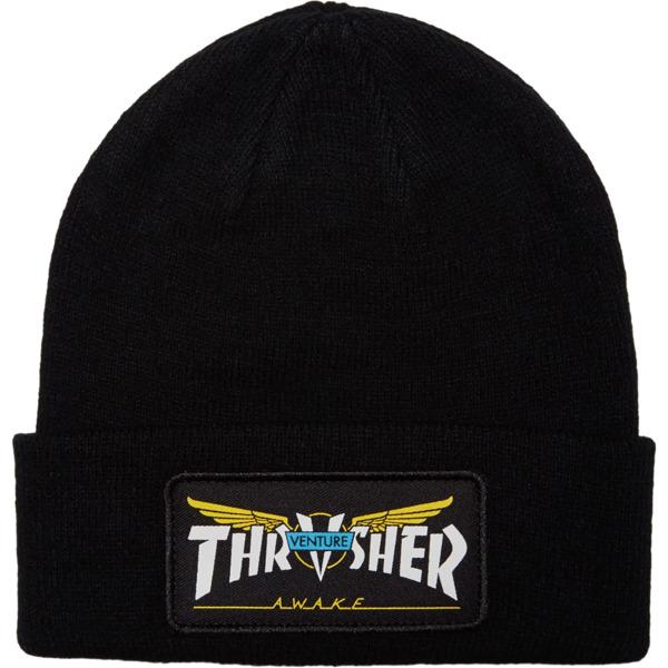 Thrasher Magazine Venture Collab Patch Black Beanie Hat