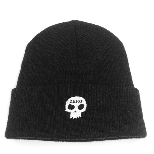294fa3e4145 Zero Skateboards Skull Black Beanie Hat - One size fits most - Warehouse  Skateboards