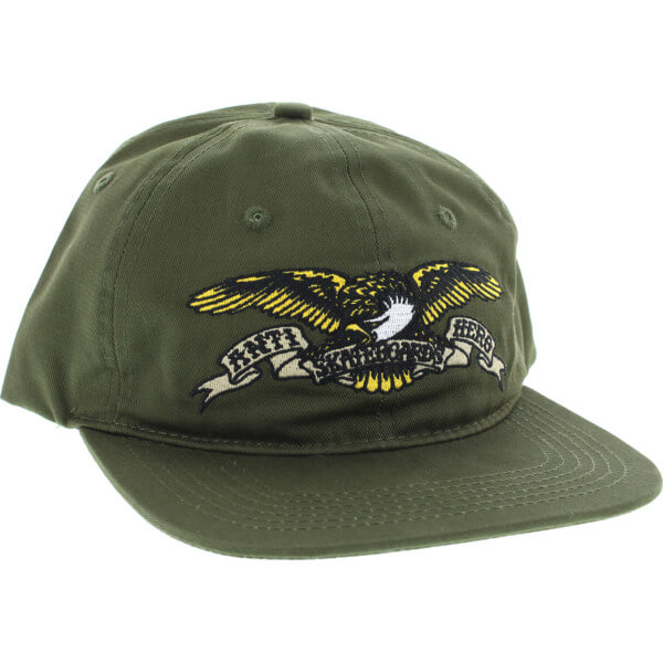 Anti Hero Skateboards Eagle Emblem Army Green Snapback Hat - Adjustable