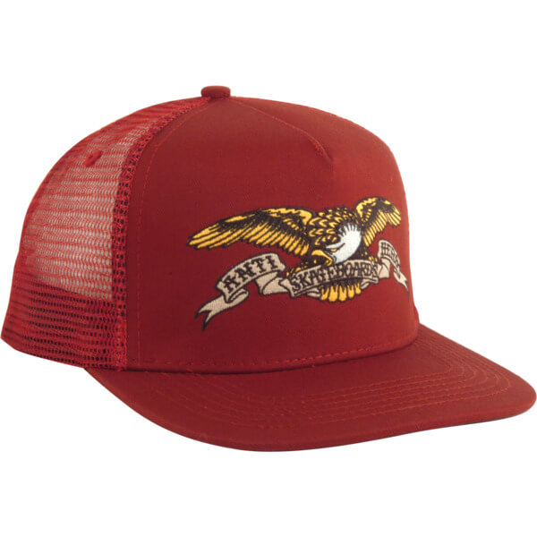 Anti Hero Skateboards Eagle Emblem Burgundy Mesh Trucker Hat - Adjustable