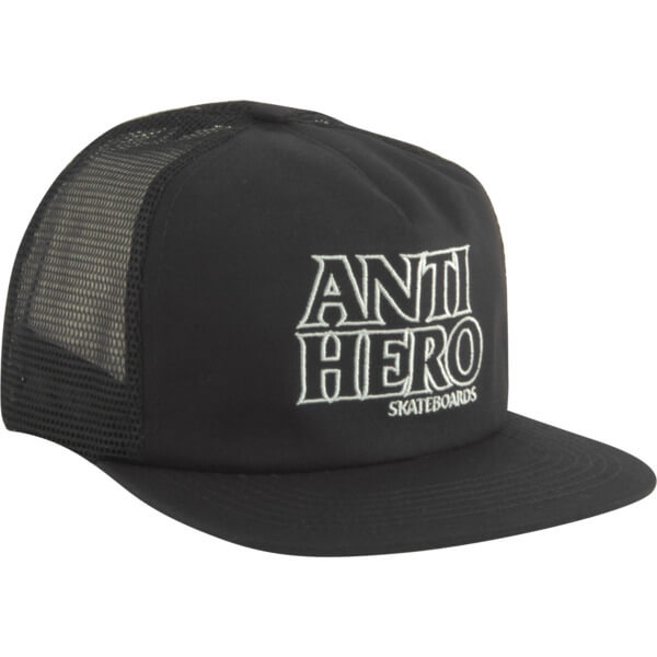 189936b6 Anti Hero Skateboards Outline Hero Black / White Mesh Trucker Hat -  Adjustable - Warehouse Skateboards