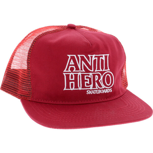 Anti Hero Skateboards Outline Hero Burgundy Mesh Trucker Hat - Adjustable