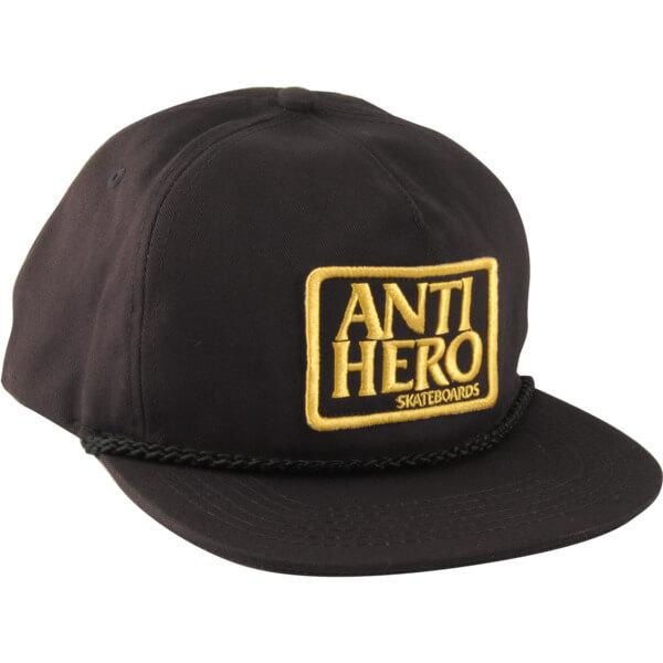 Anti Hero Skateboards Reserve Patch Black / Gold Unstructured Snapback Hat - Adjustable