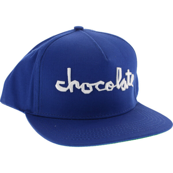 7d3e3192aa4 Chocolate Skateboards Chunk Royal   White Snapback Hat - Adjustable ...