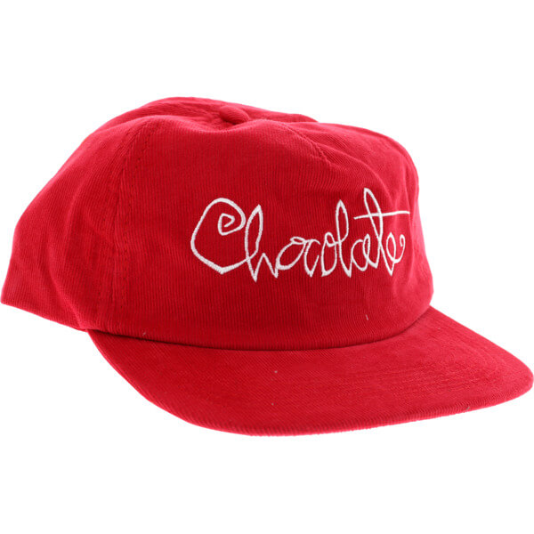 e9597f92cb7 Chocolate Skateboards Script Cord Red with White Snapback Hat ...