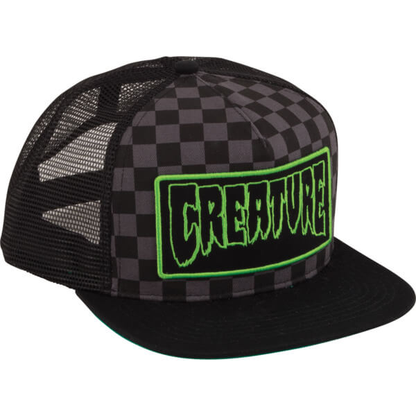 15de40a87c9 Creature Skateboards Patch Black Checker Mesh Trucker Hat - Adjustable -  Warehouse Skateboards