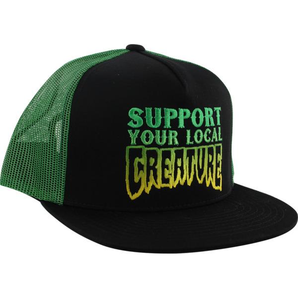 Creature Skateboards Support Black / Kelly Green Mesh Trucker Hat - Adjustable