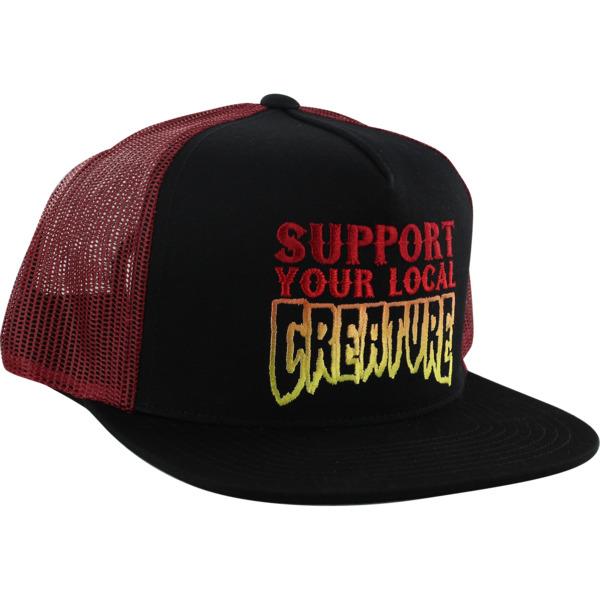 Creature Skateboards Support Black / Cardinal Mesh Trucker Hat - Adjustable