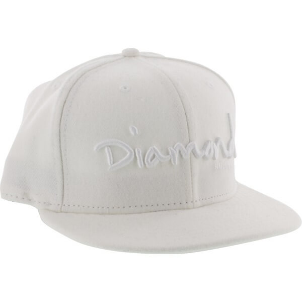 Diamond Supply Co OG Script White / White Hat Blem Sale - 7 7/8""