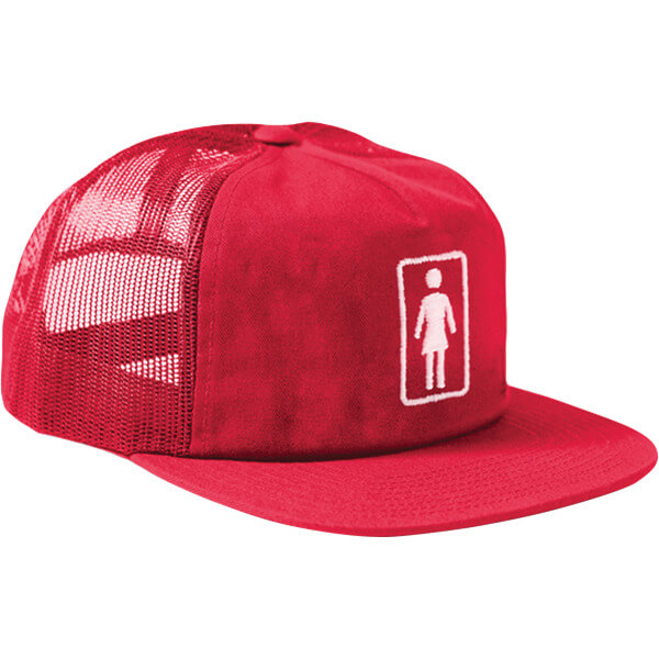 Girl Skateboards Everyday OG Red Mesh Trucker Hat - Adjustable - Warehouse  Skateboards a2f7100acce