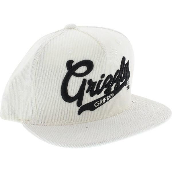 Grizzly Grip Tape Stadium Script White Hat - Adjustable