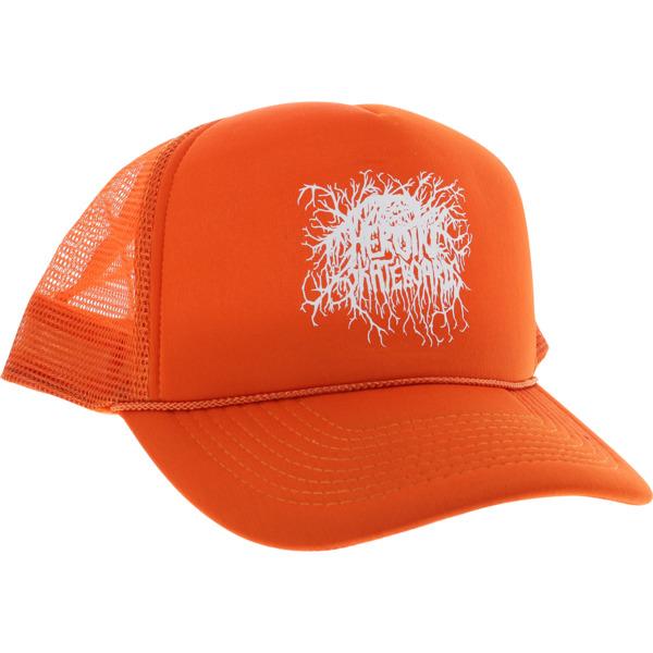 Heroin Skateboards Roots Logo Orange / White Mesh Trucker Hat - Adjustable